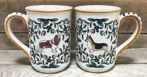 Handmade Corgi and Cavalier Spaniel mugs