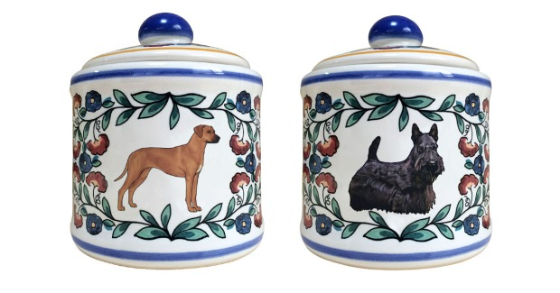 Rhodesian Ridgeback and Scottish Terrier Sugar Bowl