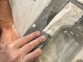 Cleaning first half of mold